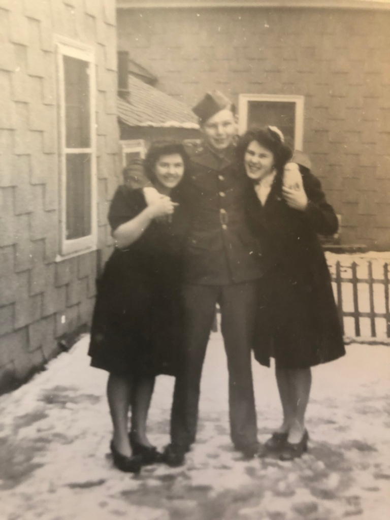 Hansine D'Ambrosio (right) with her sister, Topsy, and brother Victor, before he went into the Service in 1943.
