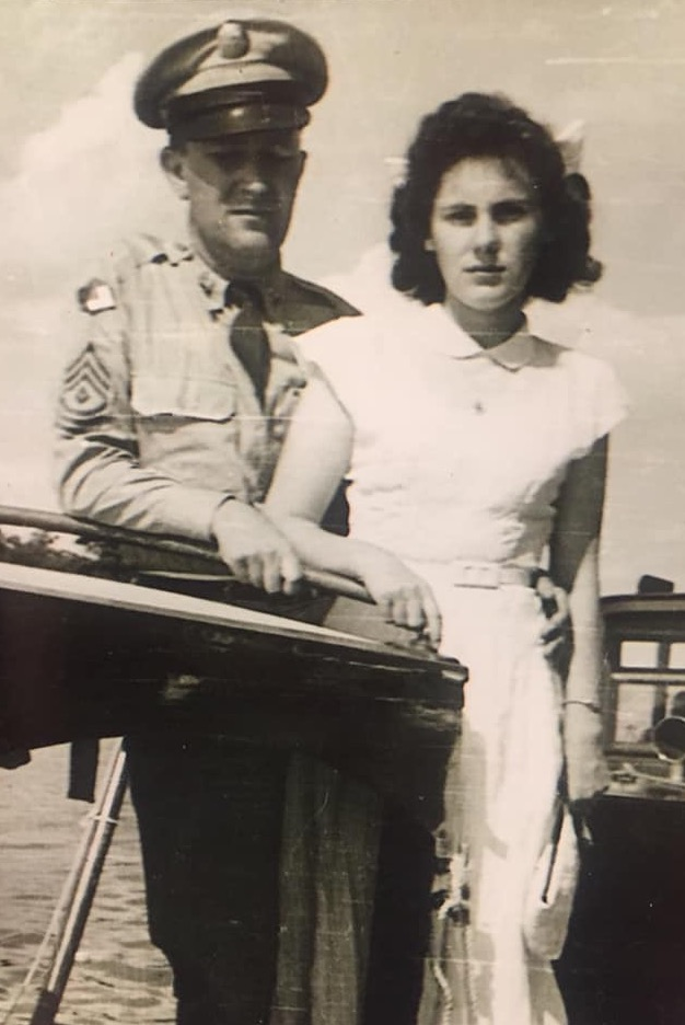 Pat in his National Guard uniform, with his wife Hansine D'Ambrosio