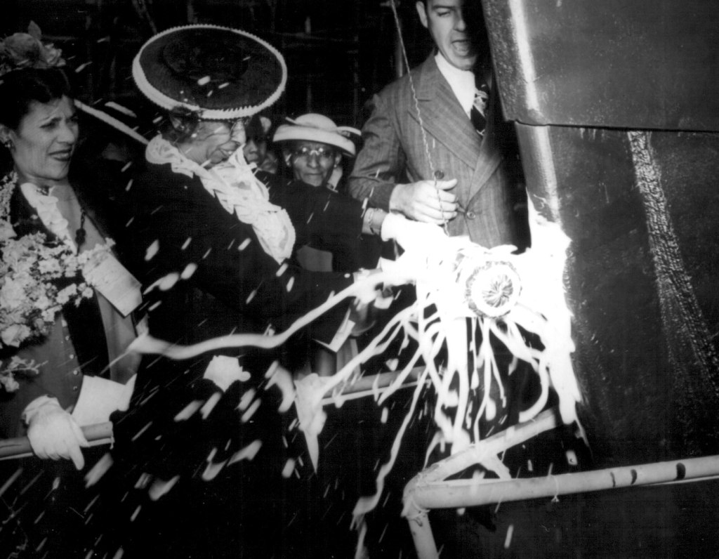 Black and white photo of The launching party for the SS Harriet Tubman. June 3, 944