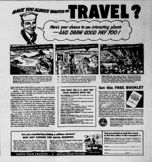 A Navy advertisement found in many newspapers nationwide in 1941