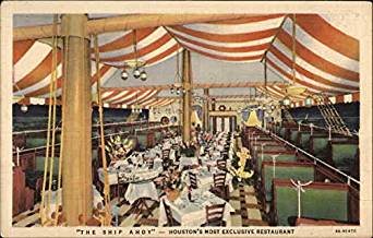 "Postcard for the Ship Ahoy restaurant in Houston, where George had ""a good steak"" before shipping out."