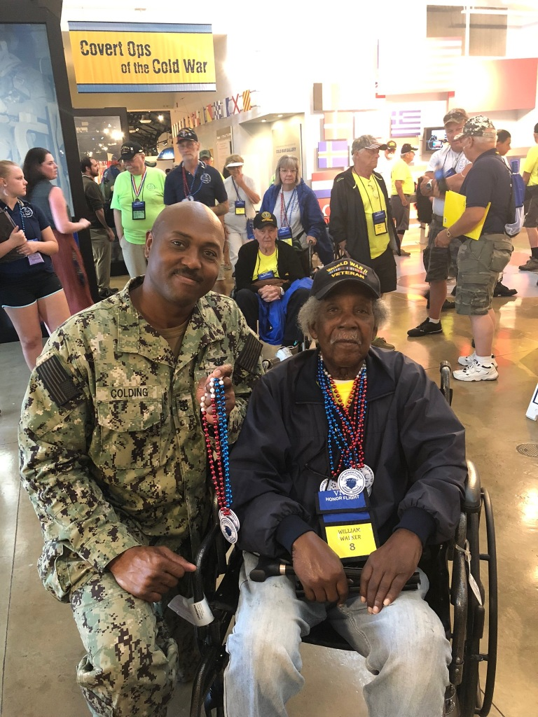 William Walker and Master Chief Nathaniel Colding at Honor Flight
