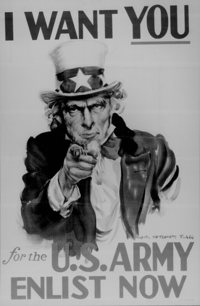 """ I Want You for the U.S. Army. Enlist Now."" Color poster by James Montgomery Flagg."