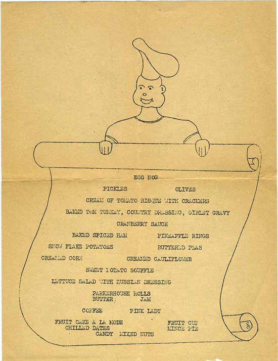 Thanksgiving menu on Tulagi in the Solomon Islands, 1944