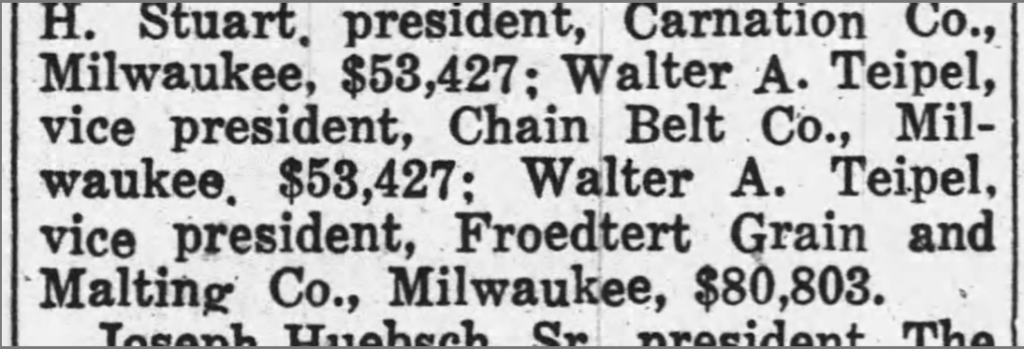 Newspaper clipping showing Walter Tiepel's Salary during the Great Depression - from the 1938 Chippewa Herald Telegraph