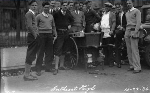 Northeast High Students with a street vendor, Philadelphia 1934