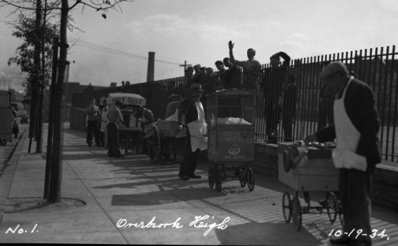 Street vendors outside of Overbrook high school 1934